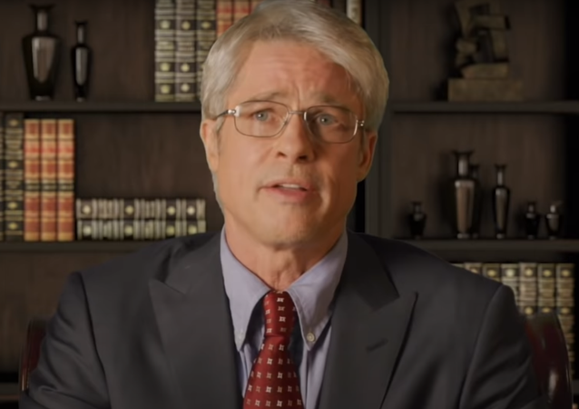 Screenshot of Brad Pitt portraying Dr. Anthony Fauci in Saturday Night Live, 25 April 2020
