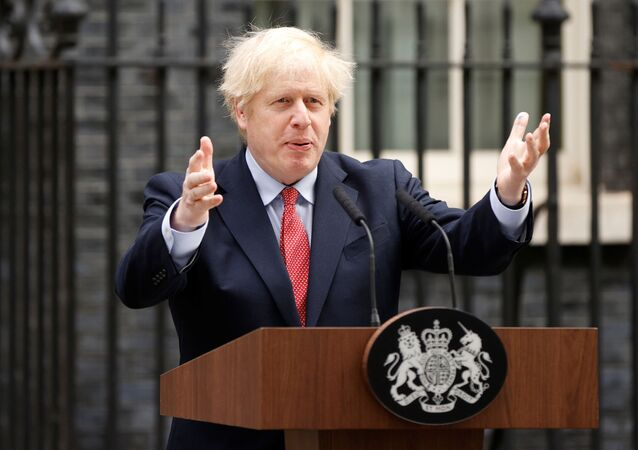 Britain's Prime Minister Boris Johnson speaks outside Downing Street after recovering from the coronavirus disease (COVID-19), London, Britain, April 27, 2020