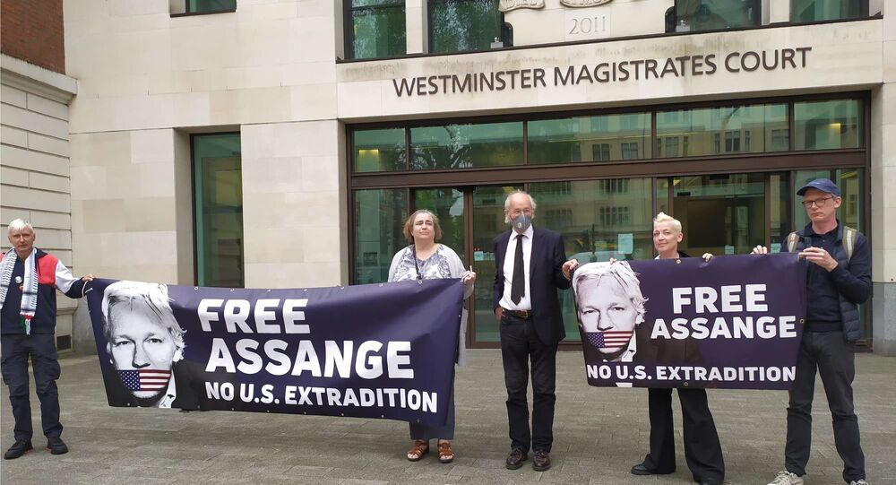 John Shipton, Julian Assange's Father and supporters  protest near the courthouse