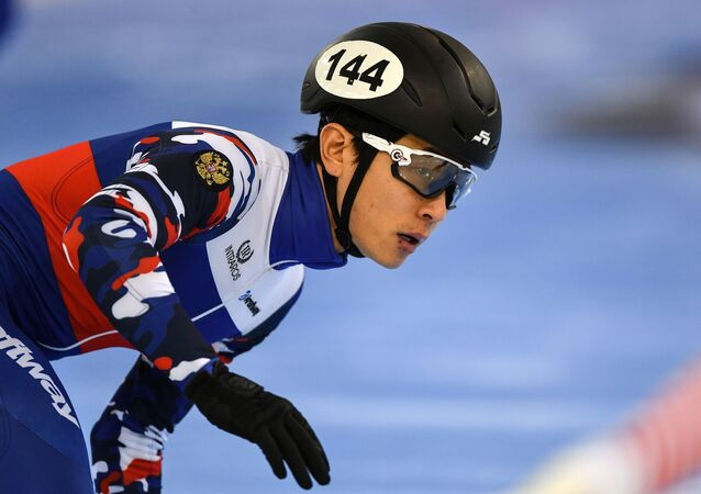 Viktor Ahn (Russia) during the men's 5000m semifinal race at the Short Track Speed Skating World Cup in Minsk