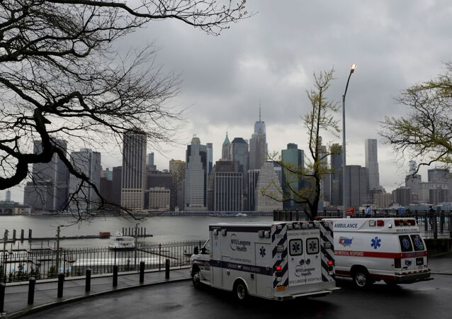 Ambulances park toward the Manhattan skyline during the outbreak of the coronavirus disease (COVID-19) in the Brooklyn borough of New York City, U.S., April 24, 2020
