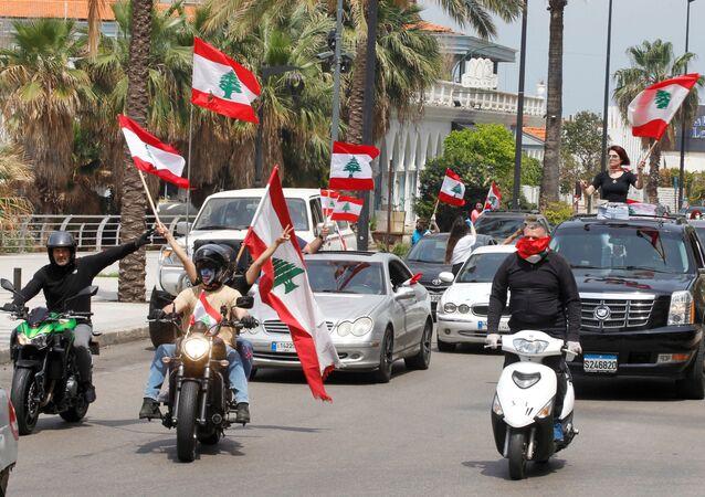 Anti-government demonstrators in Beirut