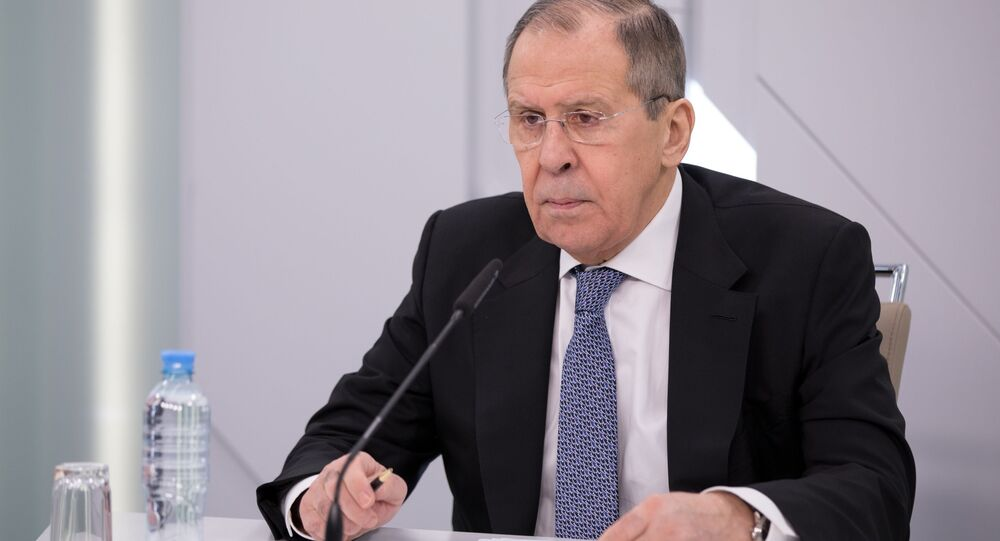 Russian Foreign Minister Sergey Lavrov chairs a video conference meeting with the Alexander Gorchakov Public Diplomacy Fund's Board of Trustees, in Moscow, Russia