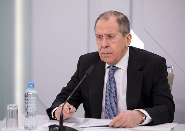 In this handout photo released by the Russian Foreign Ministry, Russian Foreign Minister Sergey Lavrov chairs a video conference meeting with the Alexander Gorchakov Public Diplomacy Fund's Board of Trustees, in Moscow, Russia