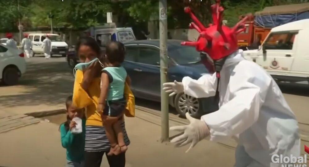 India lockdown: Delhi police use coronavirus zombies to scare people off streets