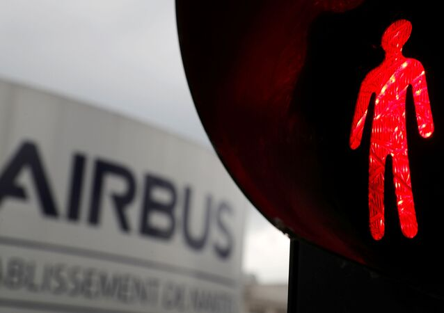 The logo of Airbus is pictured at the entrance of the Airbus facility in Bouguenais, near Nantes, France April 27, 2020