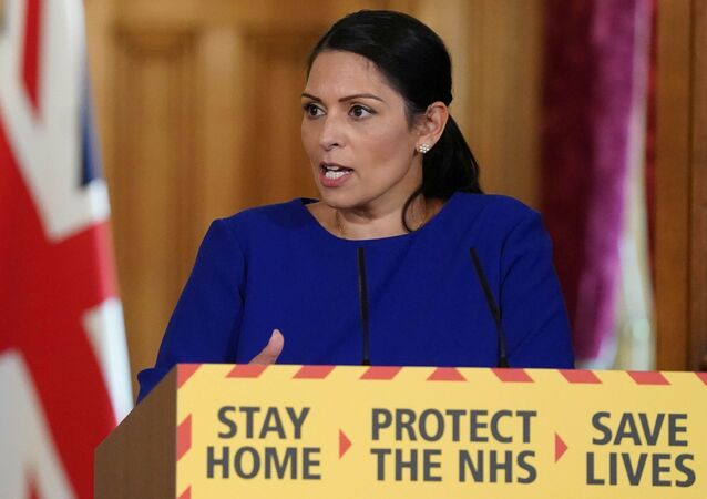 Britain's Home Secretary Priti Patel holds daily digital news conference with NHS Medical Director, Professor Stephen Powis (not pictured) and NCA Director General, Lynne Owens (not pictured) on the coronavirus disease (COVID-19) outbreak, at 10 Downing Street in London, Britain April 25, 2020.
