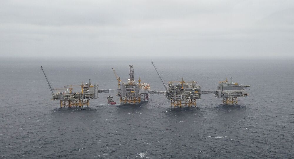 A general view of the Equinor's Johan Sverdrup oilfield platforms in the North Sea, Norway December 3, 2019
