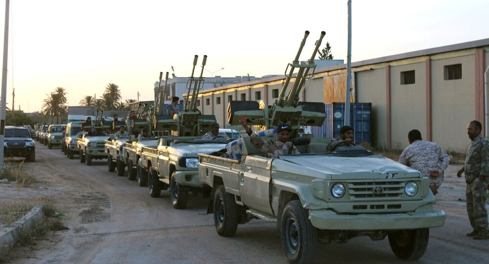 Military vehicles of members of the Libyan internationally recognised government forces in Libya
