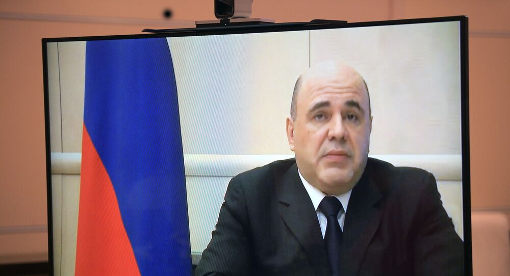 Russian Prime Minister Mikhail Mishustin (on monitor) during a video conference with Russian President Vladimir Putin.