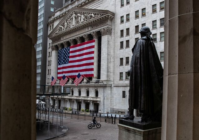 The New York Stock Exchange (NYSE) is seen in the financial district of lower Manhattan during the outbreak of the coronavirus disease (COVID-19) in New York City, U.S., April 26, 2020