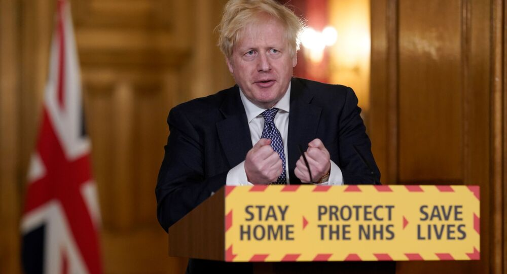Britain's Prime Minister Boris Johnson speaks during a daily news conference to update on the coronavirus disease (COVID-19), at 10 Downing Street in London, Britain April 30, 2020