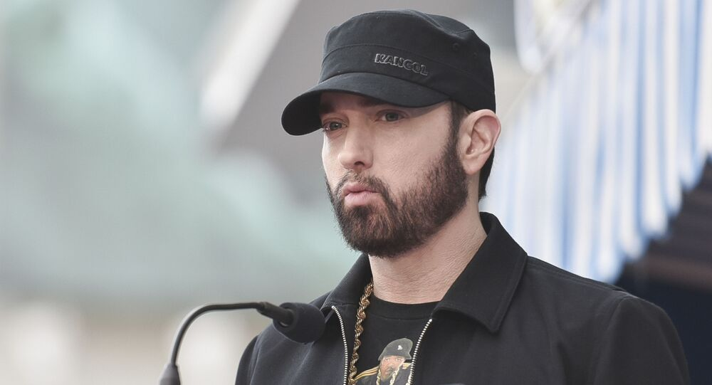 Eminem attends a ceremony honoring Curtis 50 cent Jackson Honored with a Star on the Hollywood Walk of Fame with a star on the Hollywood Walk of Fame on Thursday, Jan. 30, 2020, in Los Angeles