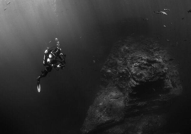 Scuba Diver Near Ocean Floor