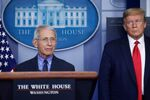 U.S. President Donald Trump looks at National Institute of Allergy and Infectious Diseases Director Dr. Anthony Fauci as Fauci answers a question during the daily coronavirus task force briefing at the White House in Washington, U.S., April 17, 2020