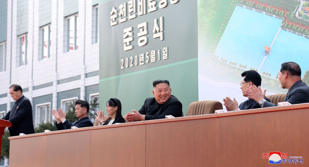 North Korean leader Kim Jong Un attends the completion of a fertiliser plant, together with his younger sister Kim Yo Jong, in a region north of the capital, Pyongyang, in this image released by North Korea's Korean Central News Agency (KCNA) on May 2, 2020