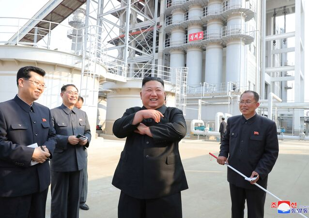 North Korean leader Kim Jong Un attends the completion of a fertiliser plant, in a region north of the capital, Pyongyang, in this image released by North Korea's Korean Central News Agency (KCNA) on May 2, 2020.