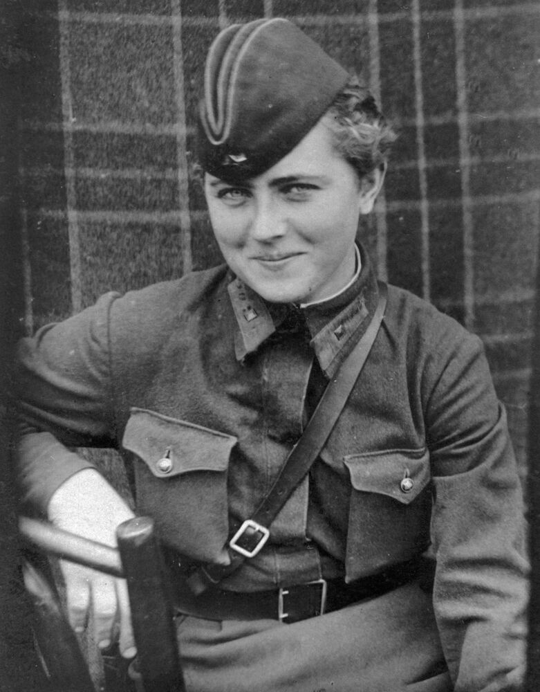 Yevgeniya Zhigulenko, pilot in the 46th Taman Guards Night Bomber Aviation Regiment. She was awarded the Hero of the Soviet Union title on 23 February 1945.