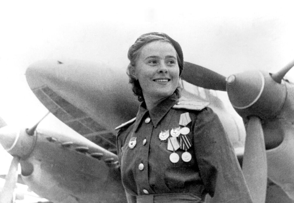 Maria Dolina, Hero of the Soviet Union, deputy squadron commander of the 125th Borisov Guards Bomber Regiment on 13 July 1944