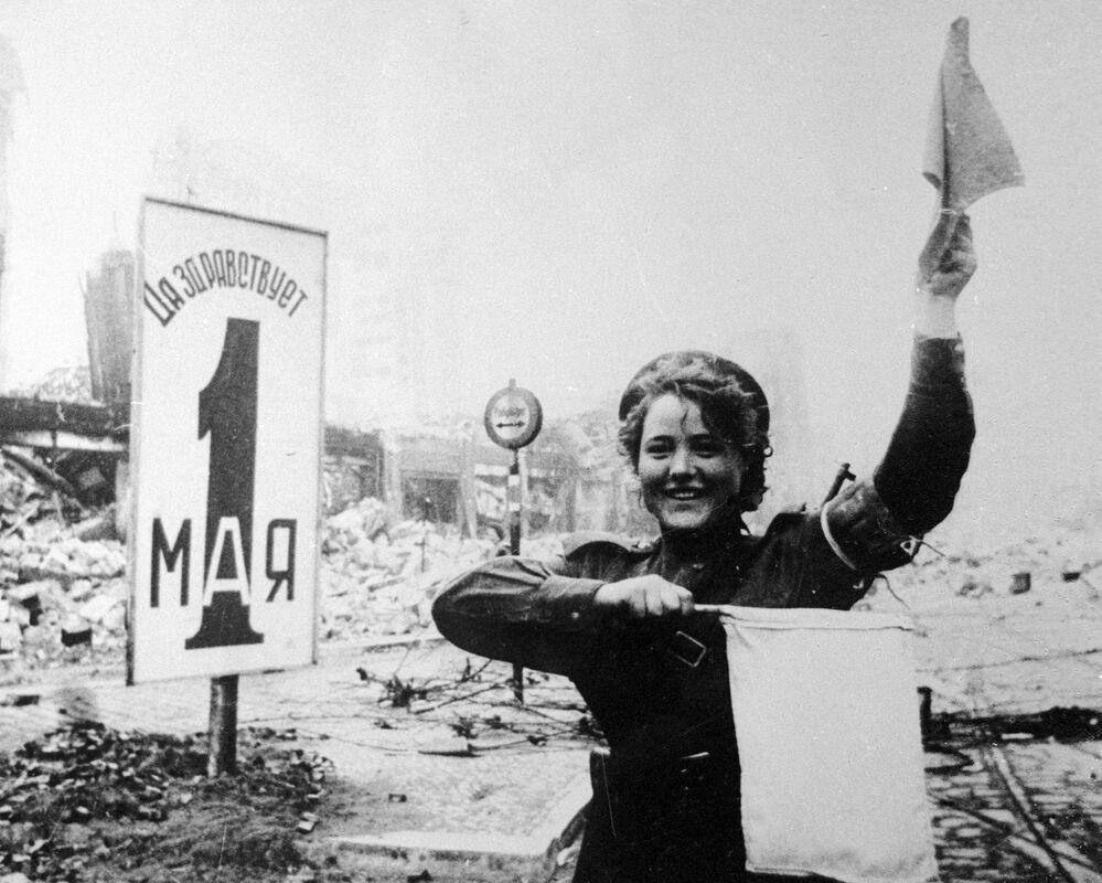 Traffic controller Maria Shalneva on Alexanderplatz in Berlin on 30 April 1945