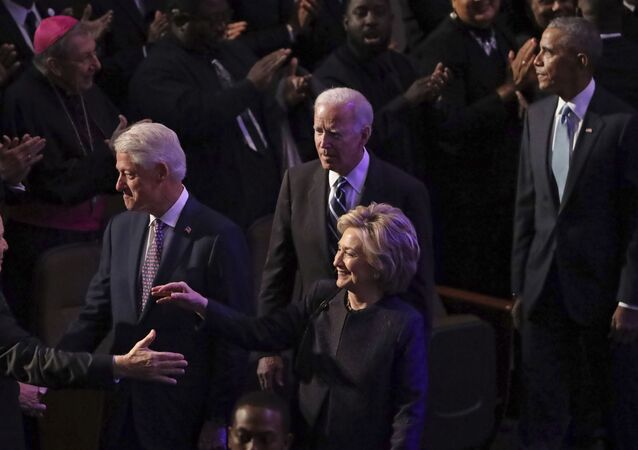 Former President Bill Clinton, former first lady and Secretary of State Hillary Clinton, former Vice President Joe Biden and former President Barack Obama greet members of the Maryland Congressional delegation as they arrive at the funeral service for Rep. Elijah Cummings (D-MD) at New Psalmist Baptist Church on October 25, 2019 in Baltimore, Maryland