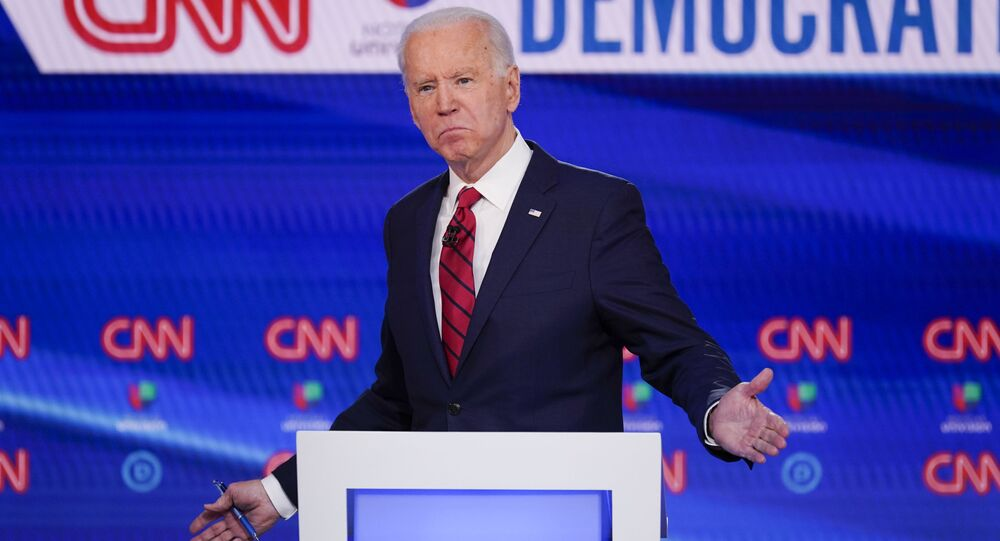 Former Vice President Joe Biden, participates in a Democratic presidential primary debate at CNN Studios in Washington, Sunday, March 15, 2020