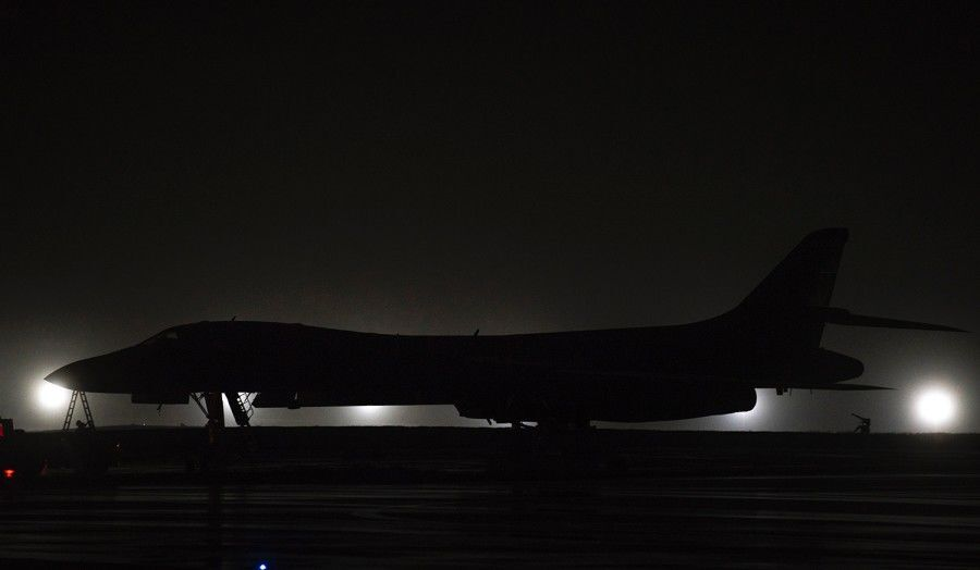 A B-1B Lancer bomber sits on the flight line at Andersen Air Force Base, Guam, Friday, May 1, 2020.