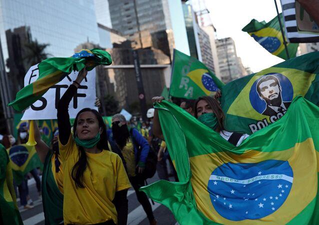 Supporters of Brazilian President Jair Bolsonaro in Sao Paulo