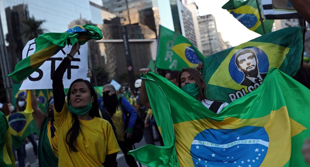 Supporters of Brazilian President Jair Bolsonaro in Sao Paulo