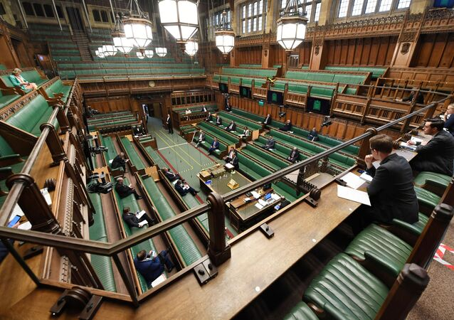 General view during the weekly question time debate at the Parliament, during the hybrid parliament session amid the coronavirus disease (COVID-19) outbreak, in London, Britain, April 22, 2020.
