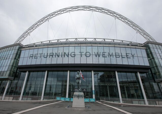 In this file photo a general view of the exterior of Wembley Stadium is pictured in west London, on April 27, 2018.