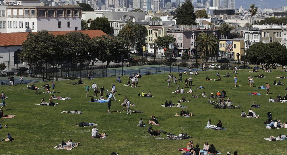 People visit Dolores Park during the coronavirus outbreak in San Francisco, Sunday, May 3, 2020. (AP Photo/Jeff Chiu)