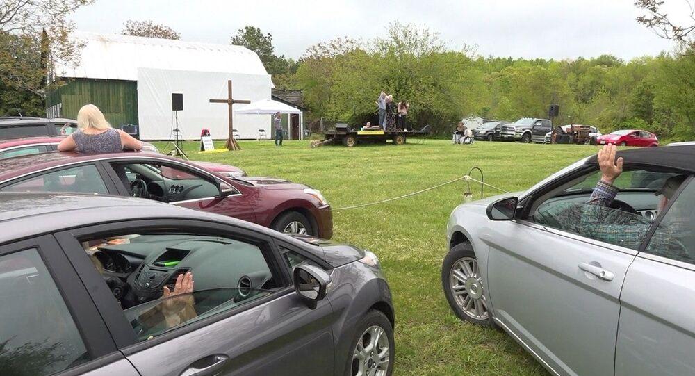 A drive-in church on a farm in Virginia, U.S.
