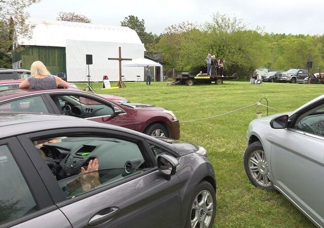 A drive-in church on a farm in Virginia, U.S.