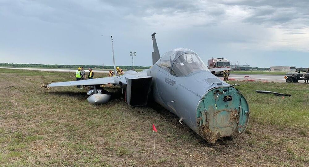 An F-15 aircraft after the emergency landing made at Joint Base Andrews in Maryland