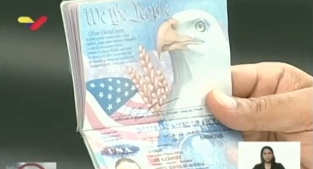 Screenshot of the US passport of alleged Trump's security guard shown by Maduro during his speech broadcast, 5 May 2020