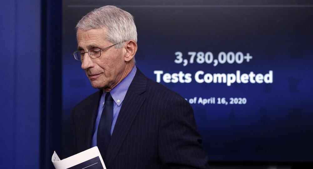 Dr. Anthony Fauci, director of the National Institute of Allergy and Infectious Diseases, walks from the podium after speaking about the coronavirus in the James Brady Press Briefing Room of the White House, Friday, April 17, 2020