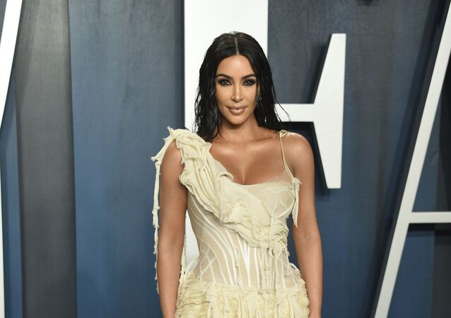 Kim Kardashian arrives at the Vanity Fair Oscar Party on Sunday, Feb. 9, 2020, in Beverly Hills, Calif