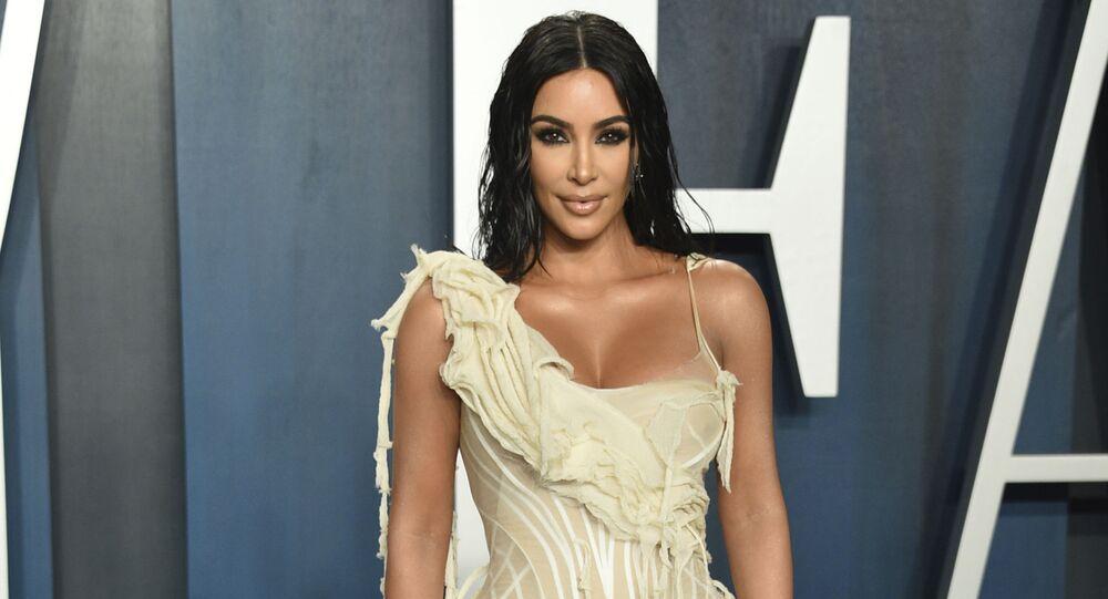 Kim Kardashian arrives at the Vanity Fair Oscar Party on 9 February 2020, in Beverly Hills, California