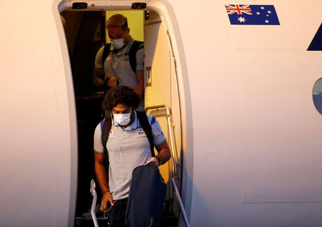 The New Zealand Warriors NRL team, which will live and train in Australia under quarantine conditions due to the coronavirus disease (COVID-19), arrives at the Tamworth Airport in Tamworth, Australia, May 3, 2020. Picture taken May 3, 2020.