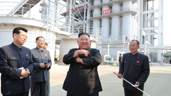 North Korean leader Kim Jong Un attends the completion of a fertiliser plant, in a region north of the capital, Pyongyang, in this image released by North Korea's Korean Central News Agency (KCNA) on May 2, 2020 - Sputnik International