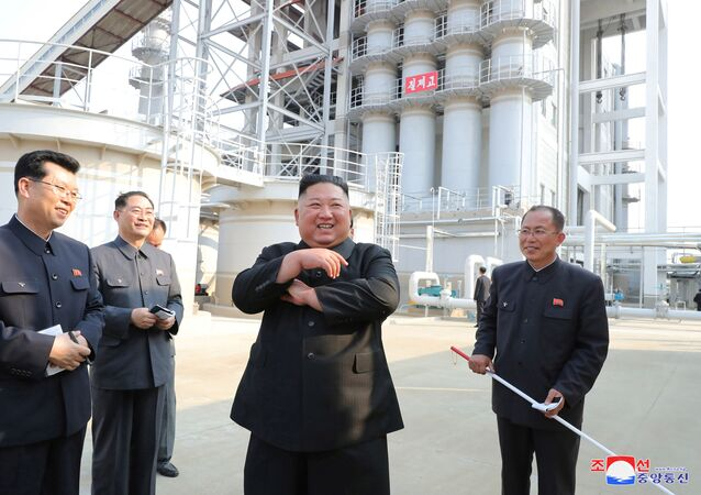 North Korean leader Kim Jong Un attends the completion of a fertiliser plant, in a region north of the capital, Pyongyang, in this image released by North Korea's Korean Central News Agency (KCNA) on May 2, 2020