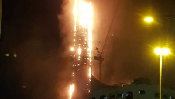 Screenshot of the video of the massive fire breaking out in Sharjah, UAE, 4 May 2020