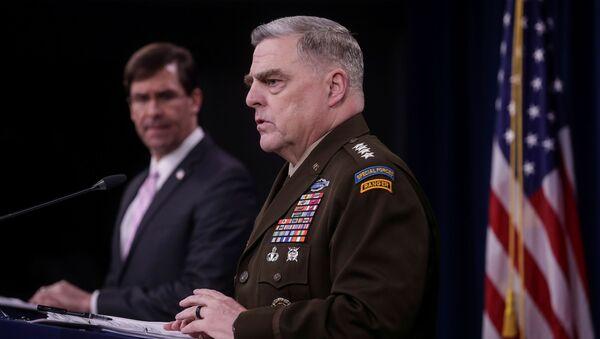 U.S. Defense Secretary Mark Esper listens as Joint Chiefs Chairman Army Gen. Mark Milley addresses a news conference at the Pentagon in Arlington, Virginia, U.S., April 14, 2020. - Sputnik International