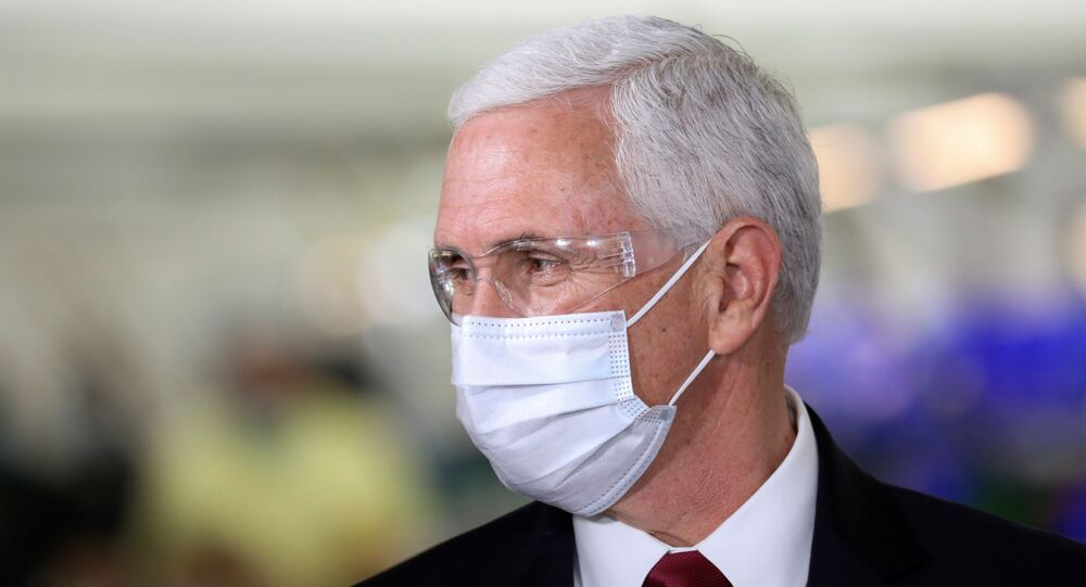 U.S. Vice President Mike Pence visits the General Motors Components Holding Plant that is manufacturing ventilators for use during the coronavirus disease (COVID-19) outbreak, in Kokomo, Indiana, U.S. April 30, 2020.