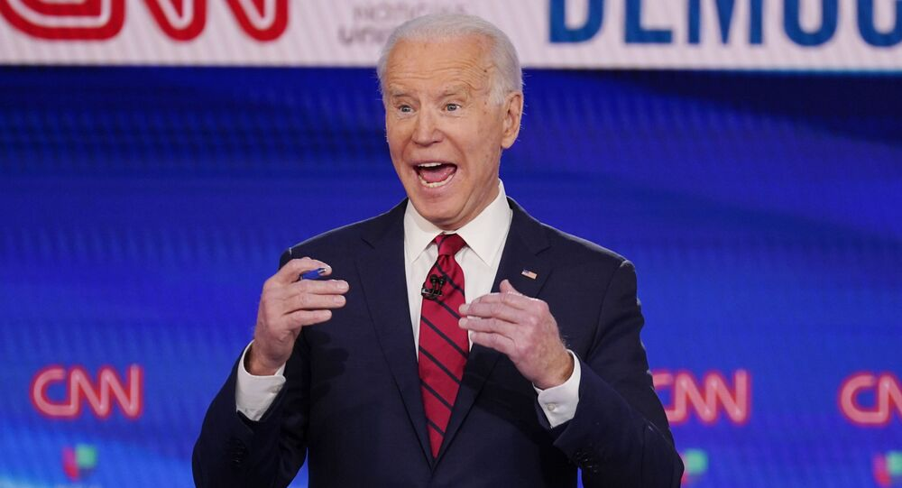 Vice President Joe Biden, participates in a Democratic presidential primary debate at CNN Studios, Sunday, March 15, 2020, in Washington.