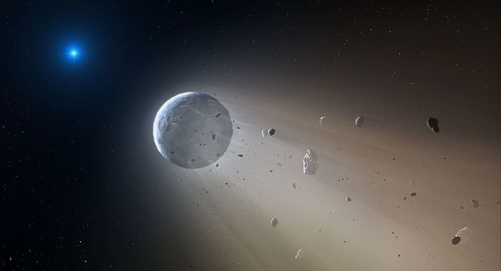 Artist's impression of a white dwarf devouring a minor planet