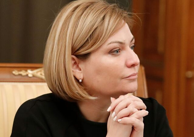 Russia's Culture Minister Olga Lyubimova attends a meeting of the new cabinet chaired by Prime Minister Mikhail Mishustin in Moscow on January 21, 2020.