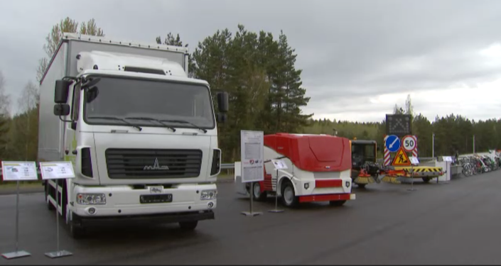 Electric-powered MAZ truck and electric-powered Zamboni, among other prospective EVs presented to Belarusian President Alexander Lukashenko on Tuesday, May 5, 2020.