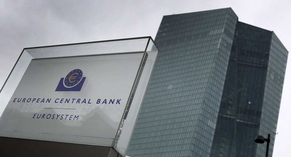 This file photo taken on March 12, 2020 shows the headquarters of the European Central Bank (ECB) in Frankfurt am Main, western Germany.